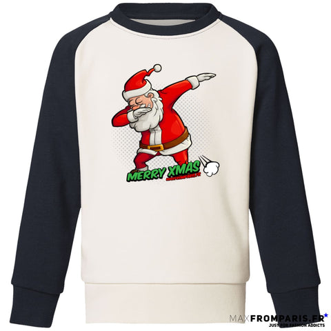 SWEAT BICOLORE ENFANT MERRY XMAS FROM MAX II - Vintage White / Navy / 3/4 ans - Vintage White / Navy / 5/6 ans - Vintage White / Navy / 7/8 ans - Vintage White / Navy / 9/11 ans - Vintage White / Navy / 12/14 ans