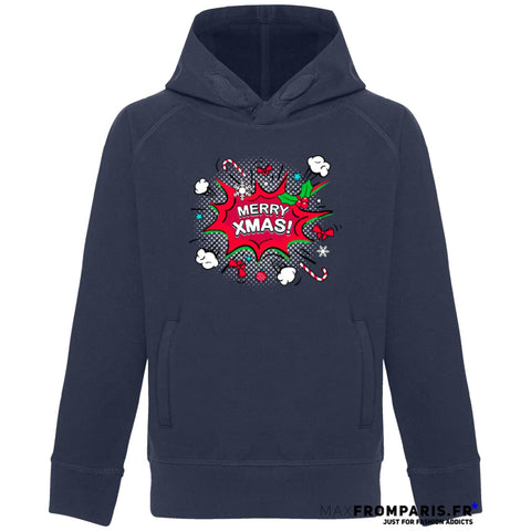SWEAT ENFANT COL HAUT MERRY XMAS FROM MAX - French Navy / 3/4 ans - French Navy / 5/6 ans - French Navy / 7/8 ans - French Navy / 9/11 ans - French Navy / 12/14 ans