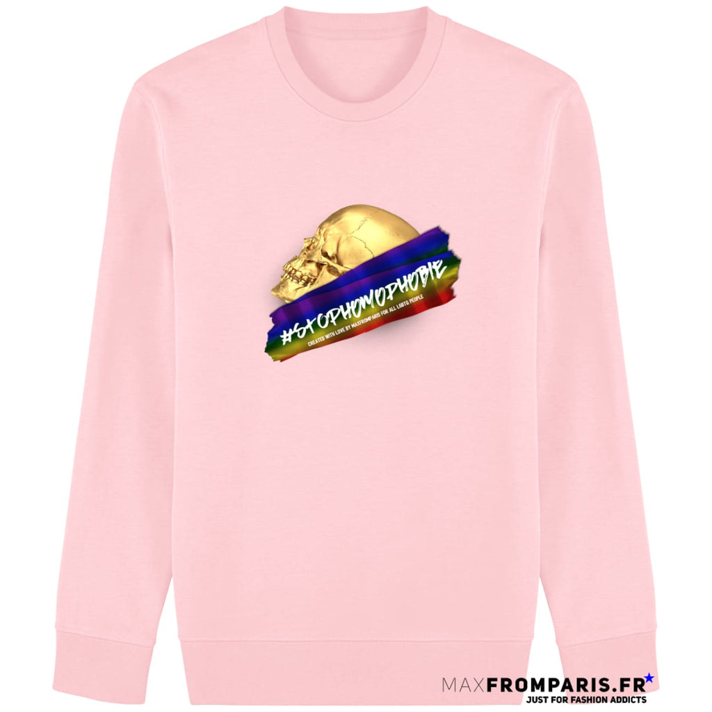 SWEAT EPAIS STOP HOMOPHOBIE BY MAX - Cotton Pink / XS - Cotton Pink / S - Cotton Pink / M - Cotton Pink / L - Cotton Pink / XL - Cotton Pink / XXL