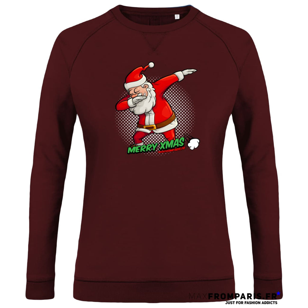 SWEAT FEMME COL ROND MERRY XMAS FROM MAX II - Burgundy / XXS - Burgundy / XS - Burgundy / S - Burgundy / M - Burgundy / L - Burgundy / XL
