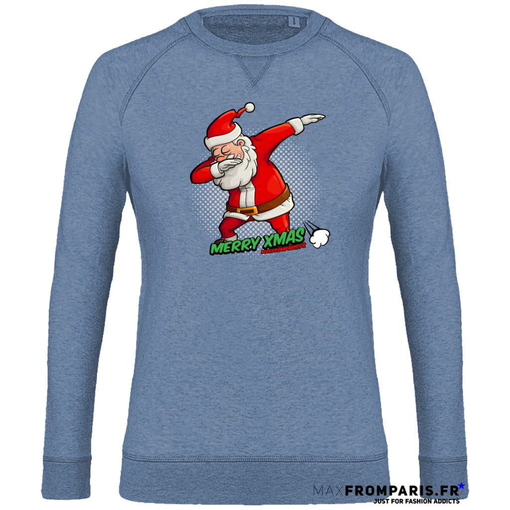 SWEAT FEMME COL ROND MERRY XMAS FROM MAX II - Mid Heather Blue / XS - Mid Heather Blue / S - Mid Heather Blue / M - Mid Heather Blue / L - Mid Heather Blue / XL