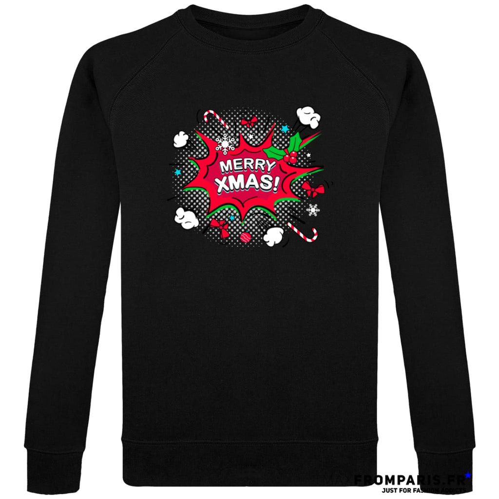 SWEAT UNISEXE MERRY XMAS BY MAX - Black / S - Black / M - Black / L - Black / XL