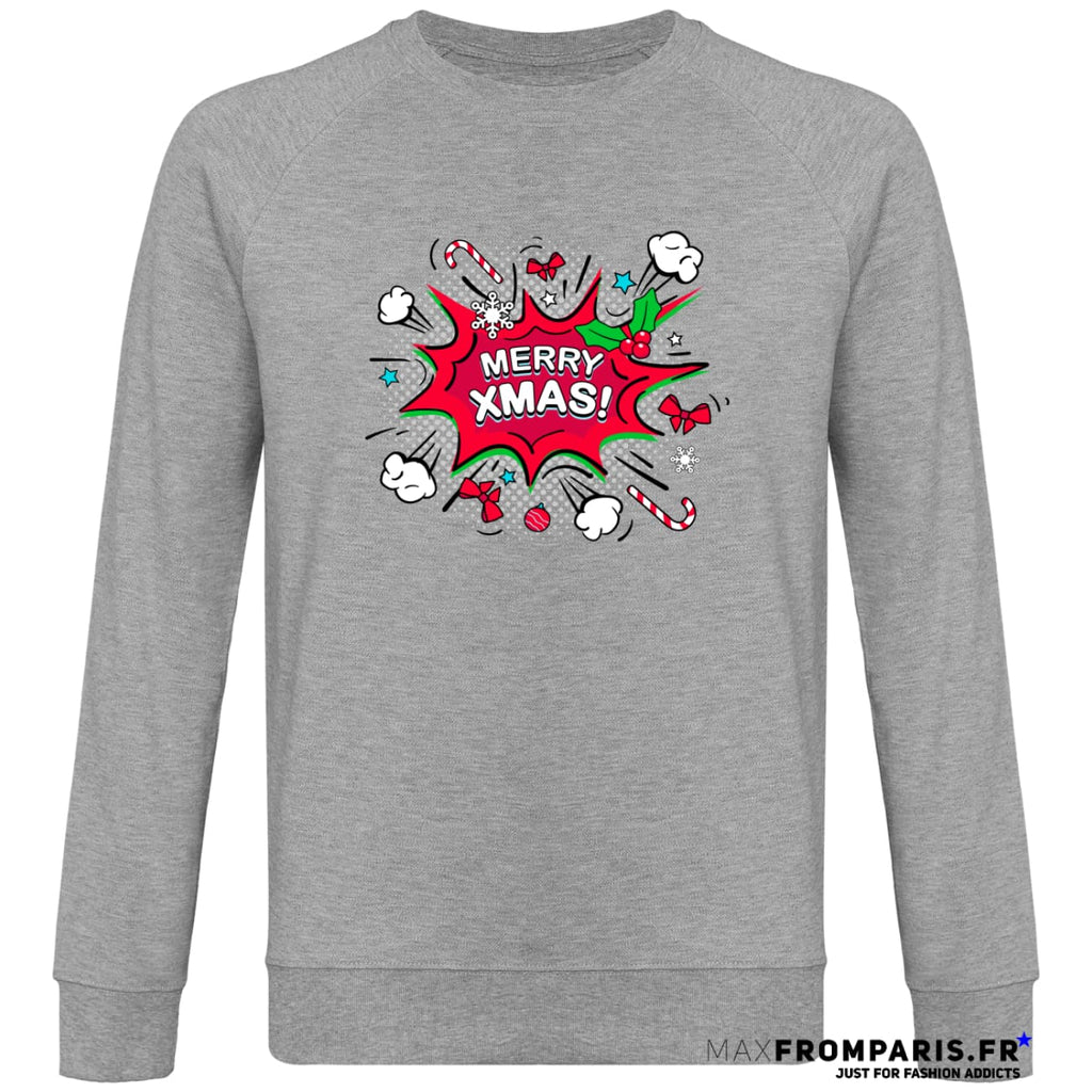 SWEAT UNISEXE MERRY XMAS BY MAX - Heather Grey / S - Heather Grey / M - Heather Grey / L - Heather Grey / XL