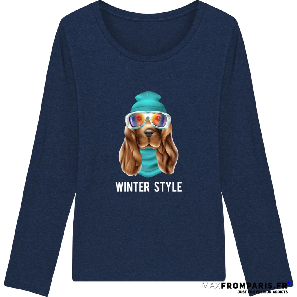 TEE-SHIRT FEMME WINTER ATTITUDE BY MAX - Black Heather Blue / XS - Black Heather Blue / S - Black Heather Blue / M - Black Heather Blue / L - Black Heather Blue / XL