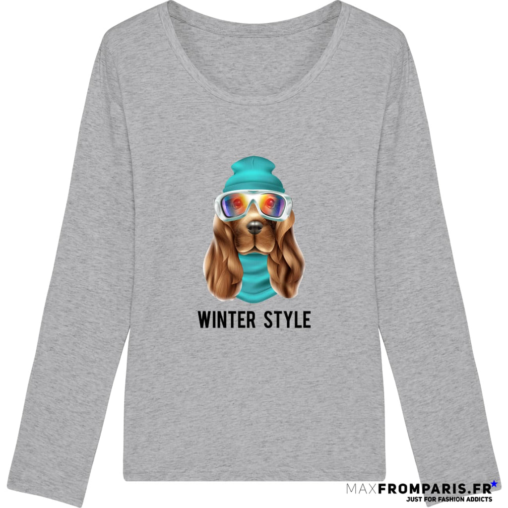 TEE-SHIRT FEMME WINTER ATTITUDE BY MAX - Heather Grey / XS - Heather Grey / S - Heather Grey / M - Heather Grey / L - Heather Grey / XL