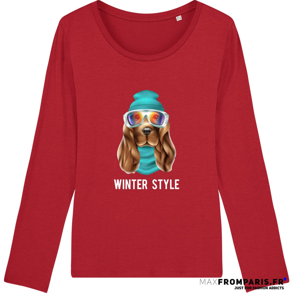 TEE-SHIRT FEMME WINTER ATTITUDE BY MAX - Red / XS - Red / S - Red / M - Red / L - Red / XL
