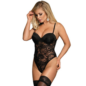 Black Sexy See Through Plus Size Teddy Lingerie