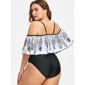 Plus Size Swimwear Feather Printed Bikini