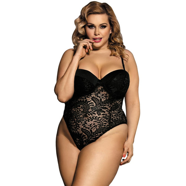 Erotic Lace Transparent Plus Size Teddy Lingerie