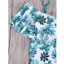 Plus Size Leaf Print One Piece Swimsuit