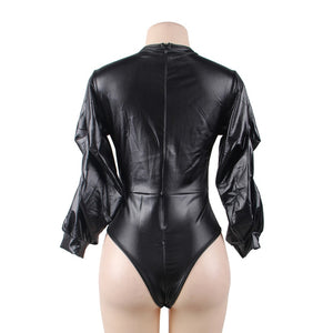 Leather Deep V Neck Bubble Sleeve Plus Size Teddy
