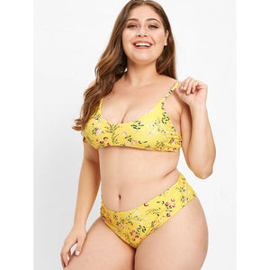Plus Size Swimwear High Leg Floral Bikini Set