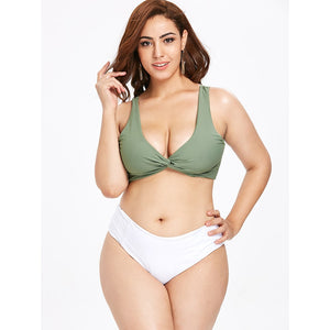 Two Tone High Leg Plus Size Bikini Beach Wear