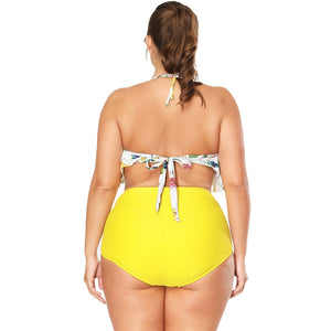 Plus Size Bikini Swimwear Fruits Print Swimming Suits