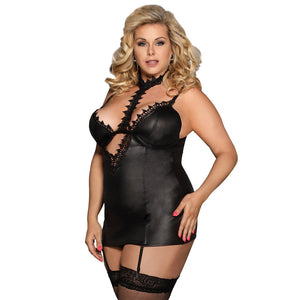 Black Leather Babydoll Plus Size Lingerie