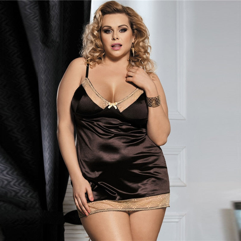 Erotic Underwear Satin Baby Dolls Plus Size Lingerie