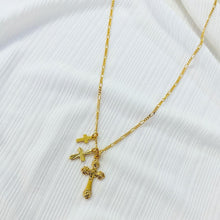 Load image into Gallery viewer, ROSA CROSS TRIO NECKLACE