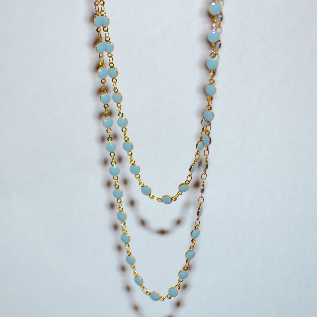 BLUE DOT LAYERED SET NECKLACE