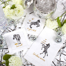 Load image into Gallery viewer, PARTY ZEBRAS EMBROIDERED COCKTAIL NAPKINS