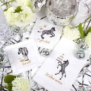 PARTY ZEBRAS EMBROIDERED COCKTAIL NAPKINS