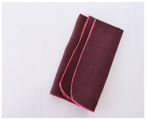 TRUFFLE LINEN NAPKINS WITH PINK STITCHING