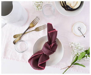 TRUFFLE LINEN NAPKINS WITH PINK STITCHING - SET OF 2