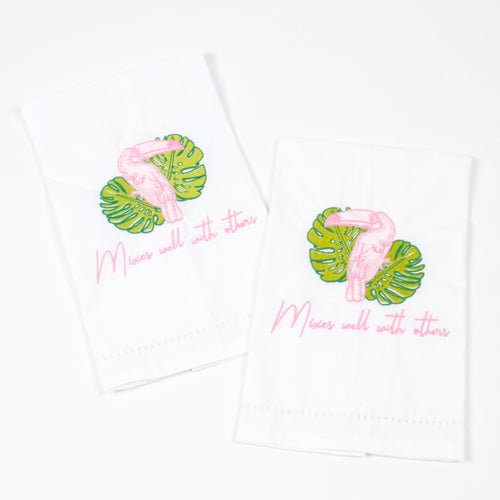 Toucan Embroidered Bar Towels