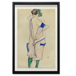 Standing girl in blue dress and green stockings, back view, 1913
