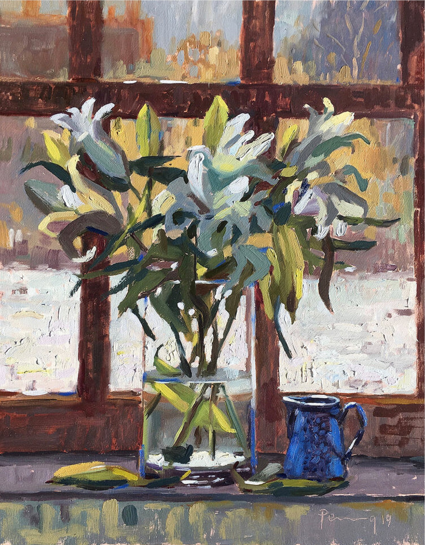 Lilies In The Window With Snow