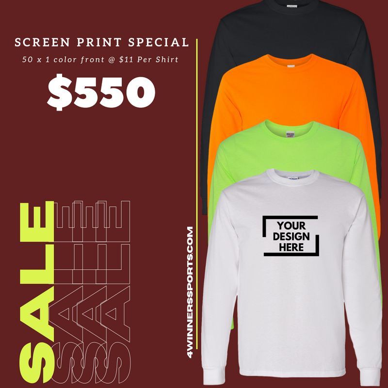 50 x Gildan Long Sleeve T- Shirt w/ One Color Print $11 per shirt