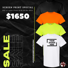 300 x Gildan T- Shirt w/ One Color Print $5.50 per shirt