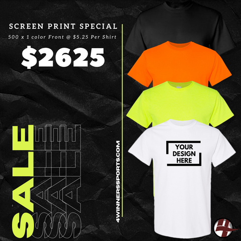 500 x Gildan T- Shirt w/ One Color Print $5.25 per shirt