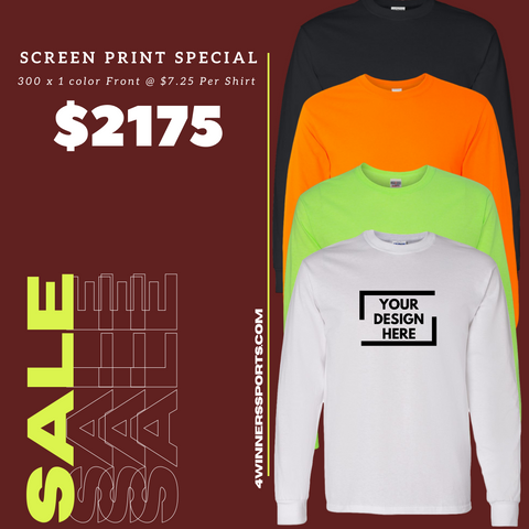 300 x Gildan Long Sleeve T- Shirt w/ One Color Print $7.25 per shirt