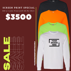 500 x Gildan Long Sleeve T- Shirt w/ One Color Print $7.00 per shirt