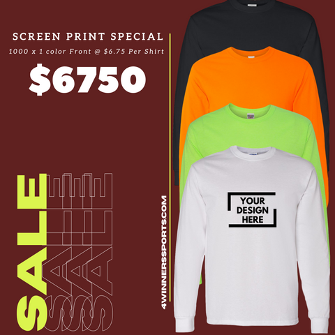 1000 x Gildan Long Sleeve T- Shirt w/ One Color Print $6.75 per shirt