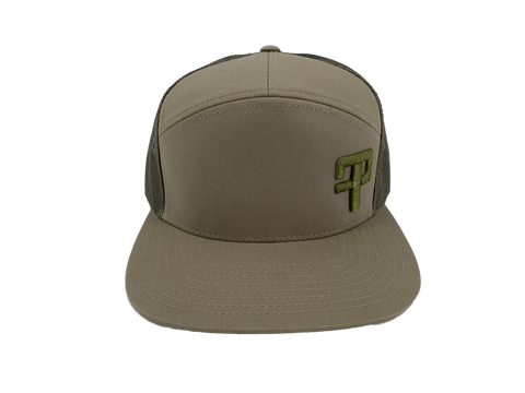 FP Tourneys: 7 Panel Trucker Cap Khaki/Loden with Green FP logo