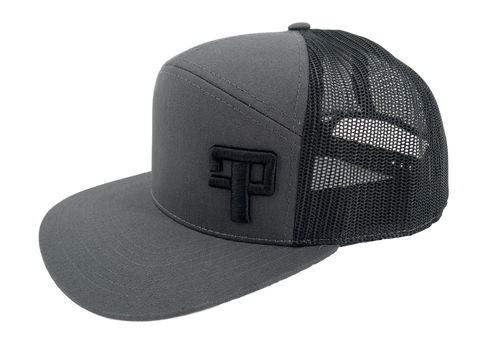 FP Tourneys: 7 Panel Trucker Cap Charcoal/Black with Black Logo