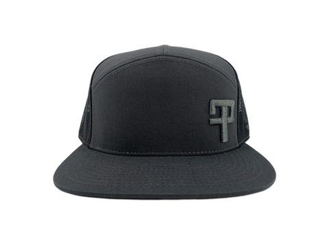 FP Tourneys: 7 Panel Trucker Cap Charcoal/Black with Grey Logo