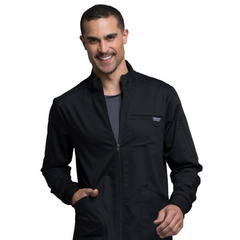 Cherokee Mens Zip Front Warm-Up Solid Scrub Jacket