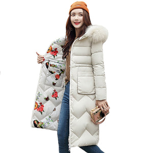 Two-Sided With Fur Hooded Long Cotton Padded Warm Women Parkas