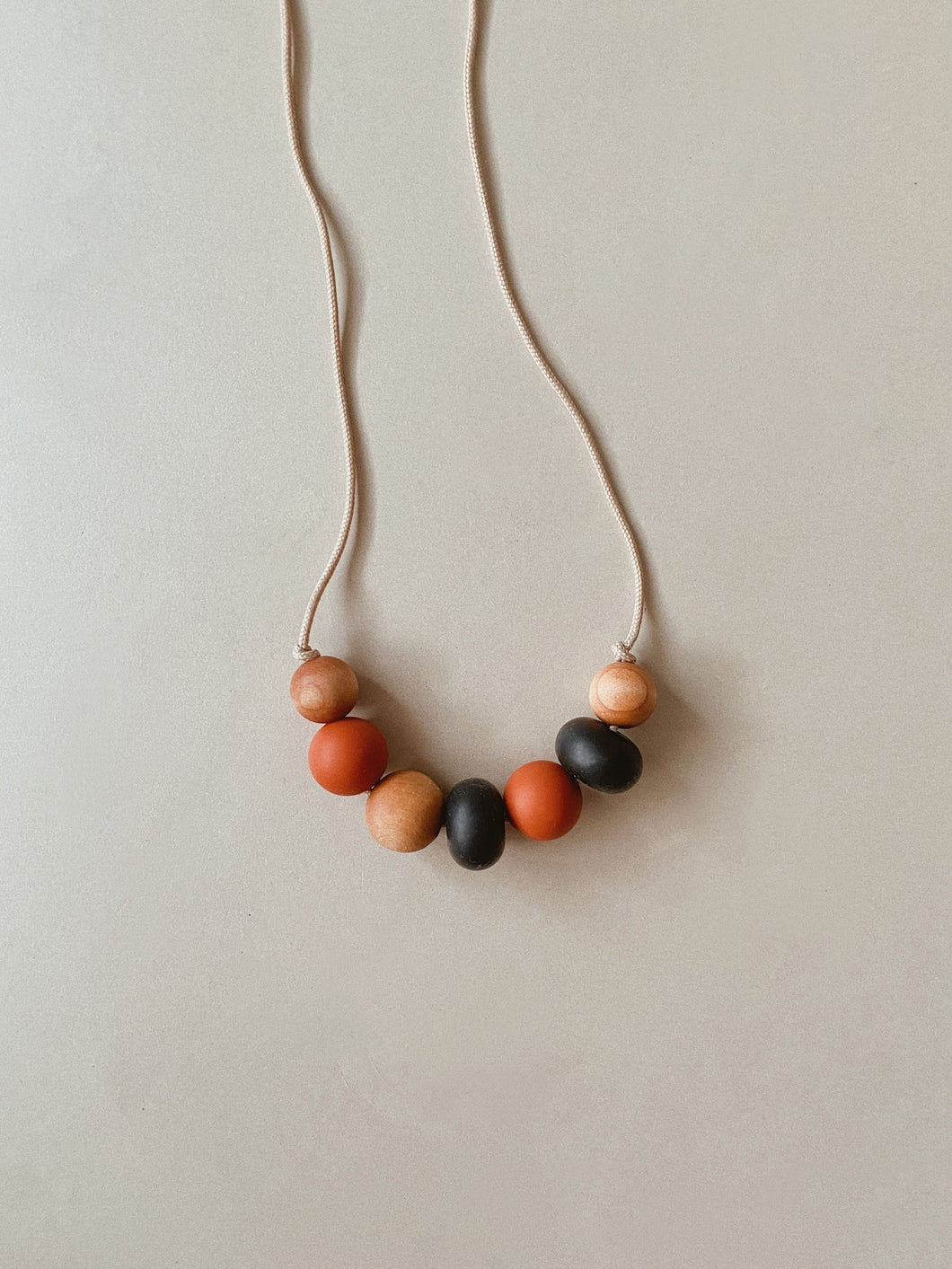 Tan Silicone + Wood Necklace