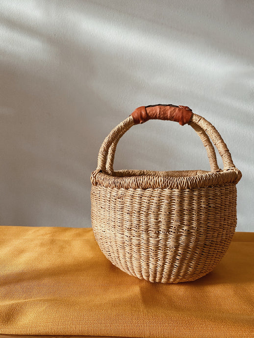 MINI BOLGA | Natural Basket with Leather Handle