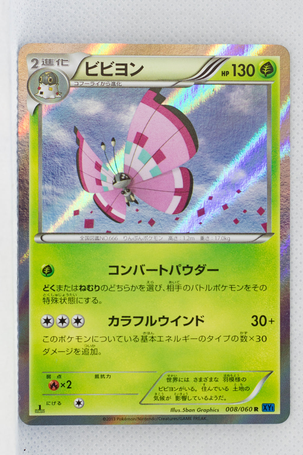 XY1 Collection X 008/060  Vivillon (Pink) 1st Edition Holo