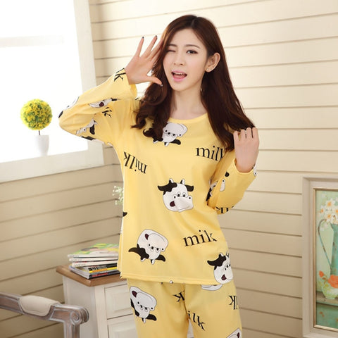 Cute Woman's Long Sleeved Cotton Pajamas Night Suit