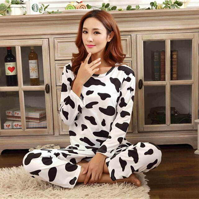 Milk Cow Print Sleepwear Long Pants Nightclothes
