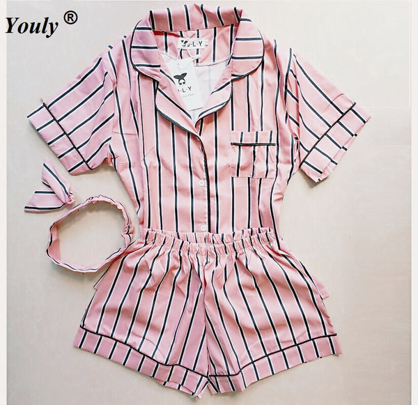 Turn-down Collar Sleepwear 2 Two Piece Set Shirt+Shorts Striped Casual Pajama Sets