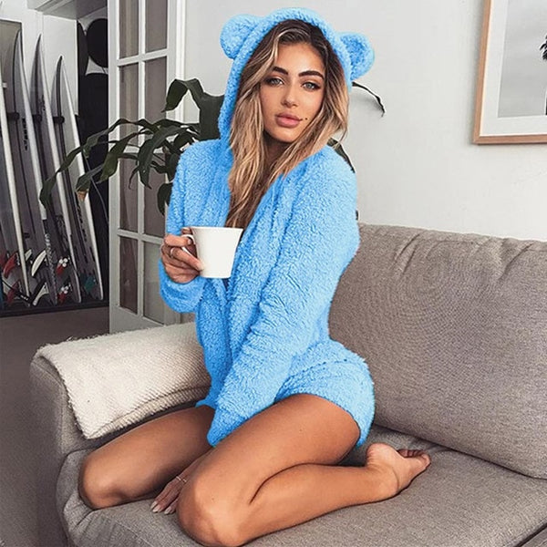Women Sexy Winter Warm Fleece Animal  Hooded Onesies Pajamas