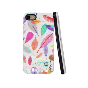 3D Ancient Fossil Leaves Design Bright Oil Embossed Mobile Phone Case