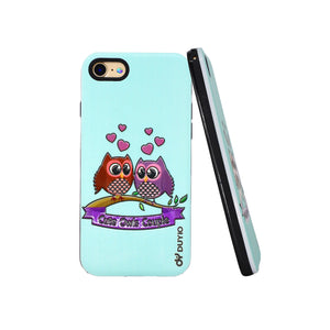 3D Couple Owl Design Bright Oil Embossed Mobile Phone Case