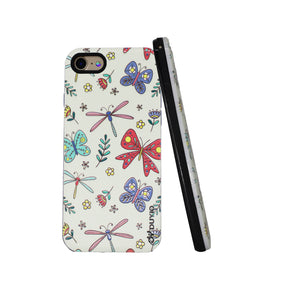 3D Dragonfly & Butterfly Design Bright Oil Embossed Mobile Phone Case